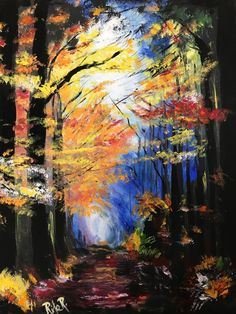 Evening Walk Through Autumn Light In The Forest - Bob Ross Style, Acrylic Painting on Stretched Canvas Fantasy Paintings, Landscape Paintings, Bob Ross Paintings, Autumn Lights, Stretched Canvas, Canvas Artwork, All Pictures, Picture Show, Beautiful Landscapes