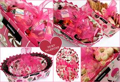 deep dish candy/gift fabric baskets - so cute Candy Gift Baskets, Diy Gift Baskets, Candy Gifts, Cookie Gifts, Storage Baskets, Craft Gifts, Diy Gifts, Ribbon Retreat, Clothes Basket