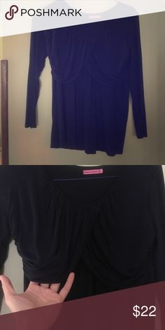 Maternal America Nursing Maternity Top Navy L Stretch jersey maternity nursing Top.  3/4 sleeves.  The pictures don't do it justice!  It's very pretty.  Excellent condition. Maternal America Tops