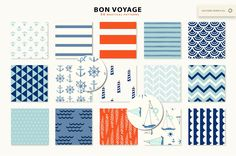 Bon Voyage! Nautical Patterns by PatternSupplyCo on @creativemarket