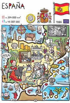 So many more opportunities for flags on this cute poster. Can you spot (besides the big one of Spain) that of the EU, France and Portugal? Ap Spanish, Spanish Culture, How To Speak Spanish, Spanish Teacher, Spanish Classroom, Spanish Lesson Plans, Spanish Lessons, Map Of Spain, Spanish Posters