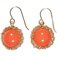 Coral Drop Earrings ($58) ❤ liked on Polyvore