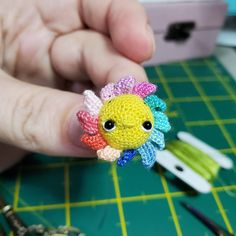 """""""each petal is crocheted separately."""" Crochet Teddy, Hand Crochet, Mini Sunflowers, Valentine Day Gifts, Valentines, Amazing Toys, Dollhouse Toys, Dollhouse Accessories, Tiny Flowers"""