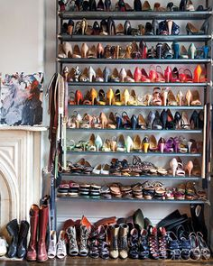 Its No Surprise That JCrew Creative Director Jenna Lyons Counts Her Wall Of Shoes Among Favorite Things Converted A Bedroom In Brooklyn