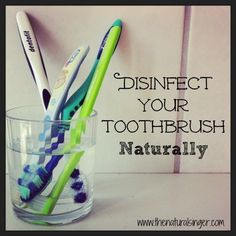 our 1/2 cup or 120 ml of water into a glass. Next add 2 tablespoons or 30 ml of white vinegar and 2 tsp or 10 mg of baking soda and mix well. Place your toothbrush (es) into the glass and leave for 30 minutes.  Rinse well.