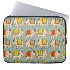 "Cute kawaii good luck circus Indian elephants vintage retro look elephant pattern animal print 13"" laptop computer sleeve case cover. #elephant #elephants #circus"