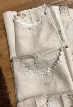 Excited to share the latest addition to my shop:UNUSED Antique French pure Linen nightgowns , hand embroidery, Monogramme MF, scallops. Linen Sheets, French Seam, Nightgowns, Scallops, French Antiques, Hand Sewing, Hand Embroidery, Etsy Shop, Fancy