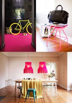 hot pink carpet, glossy black walls, yellow bike. never in my home, but I could stare at this pic all day!