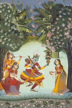 Vasant Ragini Krishna Dancing with Three Female Musicians Kota, Rajasthan,India  https://www.facebook.com/nikhaarfashions