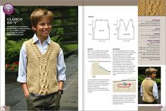 Tejido Niños 2010 - Edición especial 2 agujas - EviaEdiciones. Baby Boy Knitting, Knitting For Kids, Baby Knitting Patterns, Sweater Hat, V Neck Cardigan, Crochet Baby, Knit Crochet, Toddler Vest, Matching Sweaters