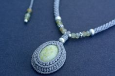 Serpentine macrame necklace macrame choker by EarthCraftHandmade