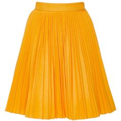 MSGM Yellow Cotton Plissé Skirt ($555) ❤ liked on Polyvore featuring skirts, mini skirts, bottoms, textured skirt, a line skirt, msgm, yellow mini skirt and msgm skirt