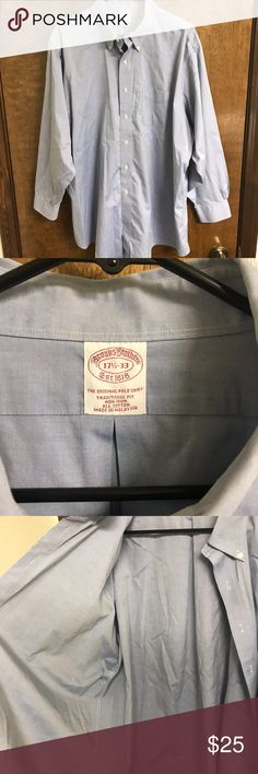 Brooks Brothers Blue Dress Shirt, Size 17.5, 33 Gently Used, Brooks Brothers Men's Light Blue Dress Shirt Size 17.5 - Neck, 33 - Arm. This shirt has only been worn a few times but has some slight fraying on the right hand cuff. The rest of this shirt looks great and is amazing quality! Let me know if you have any questions!  TCR Brooks Brothers Shirts Dress Shirts