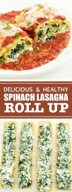 Delicious & Healthy Spinach Lasagna Roll Up | Perfect recipe for weekend dinners with the family. So delicious and healthy, you can prepare this Spinach Lasagna Roll-Up without any difficulties! #lasagna #healthy #dinner | tastyandhealthy.club