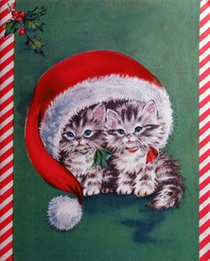 vintage Christmas card kittens