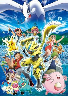 "pokemon: "" Pokémon the Movie: The Power of Us tells the story of Ash and Pikachu as they journey to a city by the sea filled with a diverse set of characters, including a young athlete, a compulsive. Pokemon Poster, Pokemon Film, Pokemon Movies, First Pokemon, Pokemon Lugia, Pikachu, Pokemon Sun, Pokemon Fire Red, Cool Pokemon"