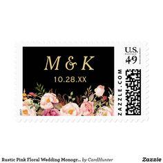 Rustic Pink Floral Wedding Monogram Initials Postage