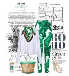 """Just because it's leaf ^"" by red-fashion ❤ liked on Polyvore featuring Dolce&Gabbana, Green Girls, Schutz, crazyforfashion and shein"