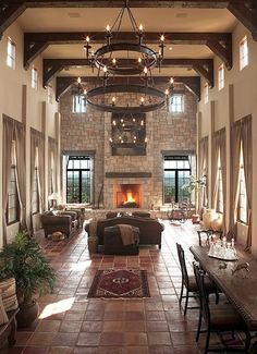 Stunning Modern Dream House interior for Living room Design ideas Tuscan Living Rooms, Mediterranean Living Rooms, Mediterranean Homes, Mediterranean Architecture, Dining Rooms, Dining Table, Spanish Style Homes, Spanish House, Spanish Kitchen