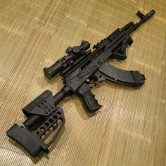 Non Traditional AK's (Not for Purist & wood people) Weapons Guns, Guns And Ammo, Zombie Weapons, Armas Airsoft, Battle Rifle, Shooting Guns, Custom Guns, Fire Powers, Assault Rifle