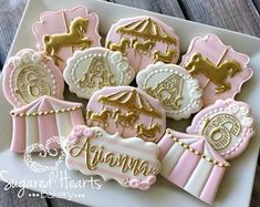 Circus Carousel Pink and Gold Birthday Cookies - 1 Dozen Carousel Birthday Parties, Circus Birthday, Gold Birthday, Baby Birthday, First Birthday Parties, Birthday Celebration, First Birthdays, Circus Cookies, Horse Cookies