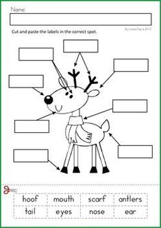 Christmas Math & Literacy Worksheets & Activities for Kindergarten. Lots of fun, interactive, no-prep pages for December. A page from the unit: Label the Reindeer cut and paste Literacy Worksheets, Math Literacy, Kindergarten Writing, Kindergarten Activities, Reading Worksheets, Christmas Worksheets, Christmas Math, Preschool Christmas, Noel Christmas