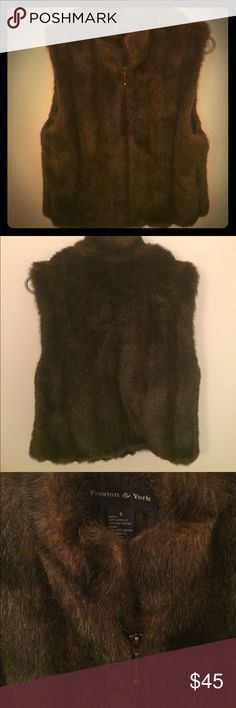 Preston York Faux Fur Vest S Small Brown Mink This is a gorgeous faux fur vest I've kept for awhile and it's still in great condition. Brown faux fur with zip closure. Super chic and warm! Preston & York Jackets & Coats Vests