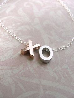 XO Charm Necklace silver rose gold letter sterling silver chain