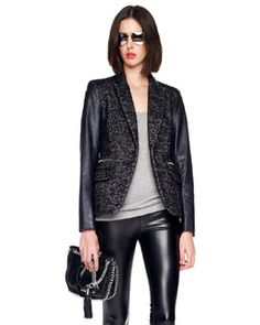 MICHAEL Michael Kors  Faux Leather-Sleeve Tweed Blazer -http://rstyle.me/n/bskjef5e