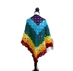 Long Rainbow Coloured Crochet Shawl, Vegan Shawl, Festival Clothing