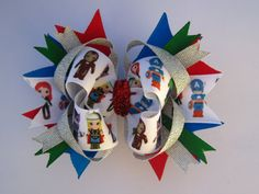 Girls boutique Stacked hair bow, Avengers, Super Heroes on Etsy, $6.00