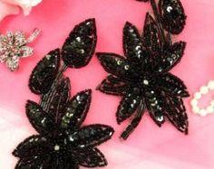 """XR51 espejo Floral negro par con cuentas apliques de lentejuelas 6"""""""