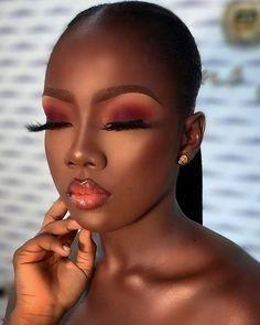 Makeup For Black Skin, Makeup Eye Looks, Black Girl Makeup, Cute Makeup, Girls Makeup, Gorgeous Makeup, Makeup Black Women, Black Makeup Artist, Dark Eye Makeup
