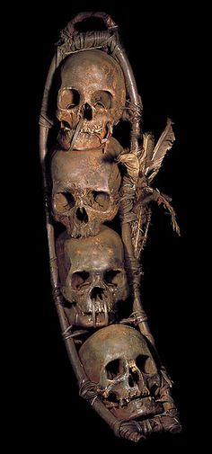 IFUGAO TRIBE: FOUR RACKED HEADHUNTING HUMAN TROPHY SKULLS  HUMAN BONE, FEATHERS…