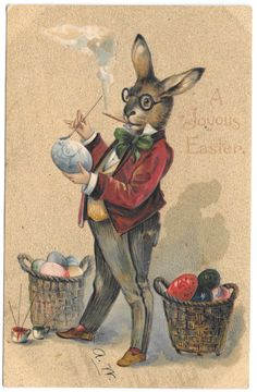 Easter Postcard Dressed Bunny Rabbit Painting Colored Eggs~104806  #Easter
