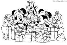 Disney Character Get Christmas Present Mickey Mouse With Goods Coloring Page