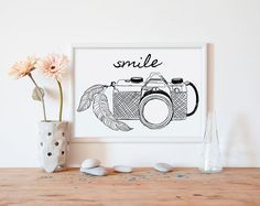 Camera Artwork | How fun would this be to mingle in with family photographs in the hallway