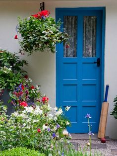 This cornflower color is quaint and country-chic painted on a windowed door. See more colorful doors >>