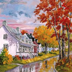 Once There Was a Village by Denise Bedard Autumn Painting, Autumn Art, Storybook Cottage, Amazing Paintings, Art Graphique, Naive Art, Painting Inspiration, Home Art, Painting & Drawing