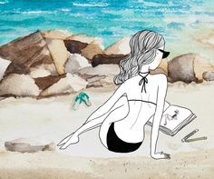 Fashion illustration on the beach ! By Flaviepeticoeur.com  Bathing suit, a book, sand and the sea !
