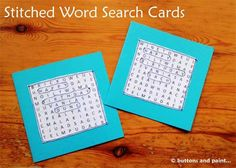Stitched Word Search Cards - Free Sewing Tutorial