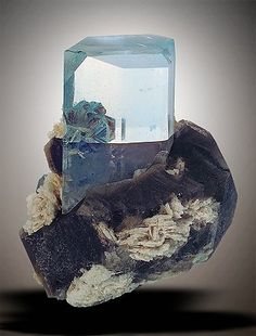 Blue Topaz on Smoky Quartz from Alabashka-Mursinka, Yekaterinburg Oblast, Ural Mts., Russia