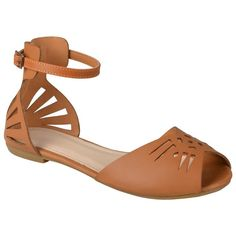 Journee Collection Women's Ida Cutout Ankle Strap Flats ($30) ❤ liked on Polyvore featuring shoes and flats
