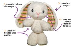 Crochet Rabbit Tutorial: conejo tejido a crochet (amigurumi bunny / easter) - Crochet Amigurumi Bunny Toy Free Patterns Instructions: Crochet Easter Bunnies, Amigurumi Bunny Toys, Stuffed Bunny Animal crochet free pattern Crochet Patterns Amigurumi, Amigurumi Doll, Crochet Toys, Baby Blanket Crochet, Crochet Baby, Single Crochet, Crochet Rabbit, Easy Crochet Projects, Easter Crochet