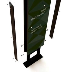 Vehicular directional signage in steel and glass. Pylon Signage, Directional Signage, Wayfinding Signs, Outdoor Signage, Signage Board, Signage Display, Signage Design, Environmental Graphic Design, Environmental Graphics