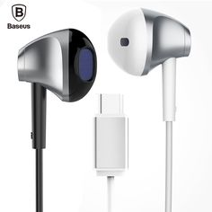 Baseus B51 Type C Wired In-ear Earphones HiFi Digital Lossless Audio Type-C Plug Earphone Earbuds For Huawei p9 for Xiaomi 5