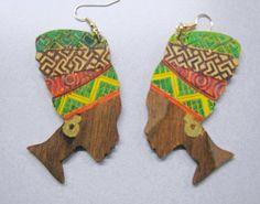 African Queen Wood Earrings Africa  Wooden by nubiansensations