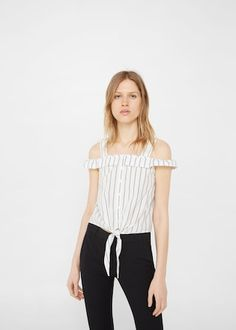 Ruffled cotton top -  Women | MANGO USA