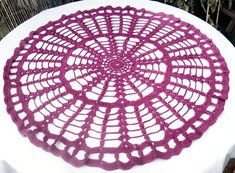 Crocheted doily centerpiece large lace pink table runner by jarg0n, £35.00