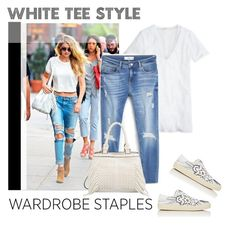 """Wardrobe Staple: White T-Shirt"" by bjigg ❤ liked on Polyvore featuring MANGO, Yves Saint Laurent and Patchington"